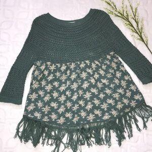 ENTRO Boho Floral Crochet Fringe Tunic Top Small